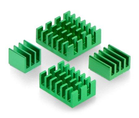 Zestaw radiatorów do Raspberry Pi 4 - zielone z taśmą termoprzewodzącą - 4 szt.