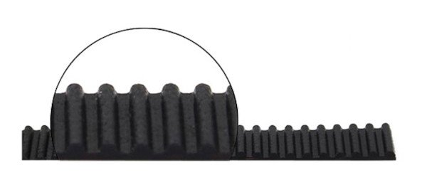 Pasek zębaty GT2 z zaokrąglonymi zębami.