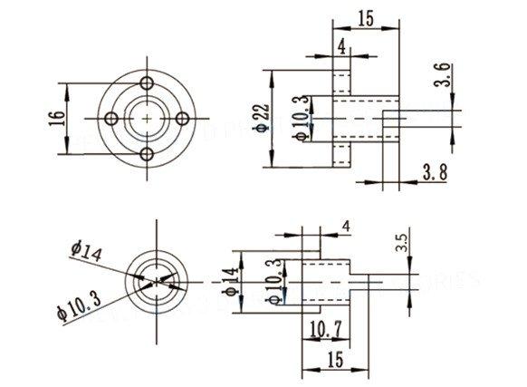 Szczegółowe wymiary nakrętki kasującej (mm)
