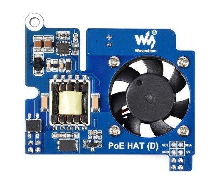Power over Ethernet HAT (D) - nakładka zasilająca PoE i sieciowa 802.3af - do Raspberry Pi 3B+/4B w oficjalnej obudowie.