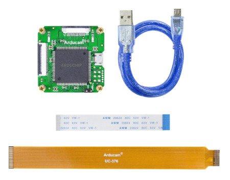 Zawartość zestawu z nakładką ArduCam USB2 Camera Shield (Rev.E).