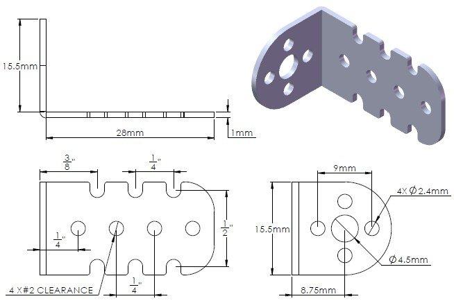 Wymiary aluminiowych mocowań do silników elektrycznych