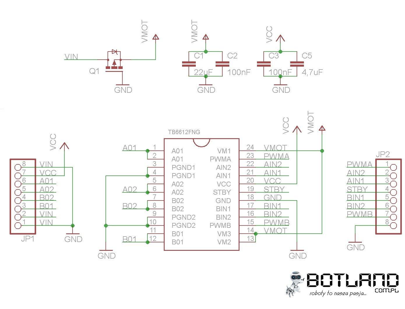 Schemat modułu ze sterownikiem TB6612
